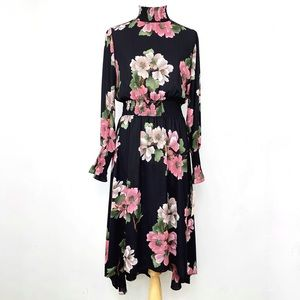 Nanette Lepore Black Floral Hi Low High Neck Dress